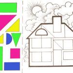 Разноцветный дом из геометрических фигур