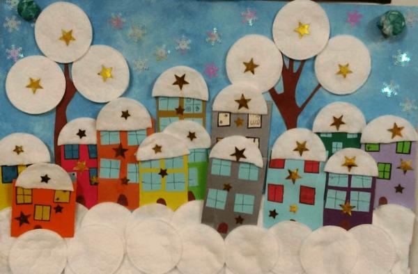 Аппликация Дома на нашей улице из бумаги с цветными звёздочками, ватными дисками