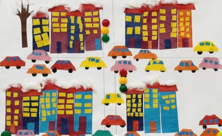 Аппликация Дома на нашей улице зимой