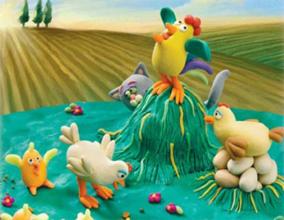 Петушок на стоге сена, куры и цыплята вокруг