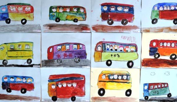 Автобусы с вырезанными лицами пассажиров