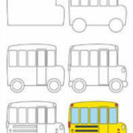 Схема рисования школьного автобуса