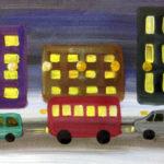 Автобус едет по вечернему городу