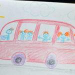 Красный автобус с пассажирами