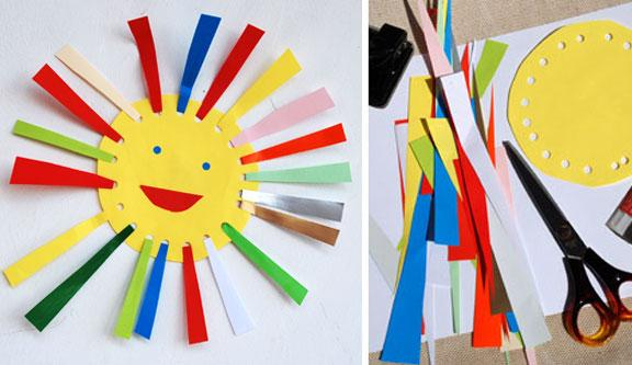 Объёмное солнце из цветной бумаги