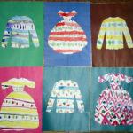 Платья с полосками, нарисованными ватными палочками, пальцами