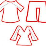 Схема рисования футболки, шорт и платья