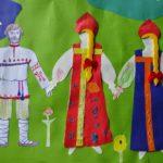 Аппликация двух девушек и парня в национальных костюмах