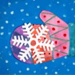 Варежка с аппликацией-снежинкой