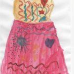 Платье с розовой юбкой с солнышком и цветочком