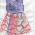 Платье с синим верхом и полосатой юбкой