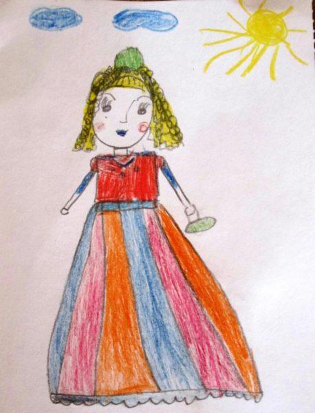 Рисованная девочка в длинном платье