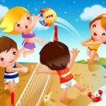 Анимационные дети играют в пляжный волейбол