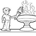 Шаблон мальчика у Олимпийского огня