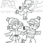 Шаблон дети катаются на коньках