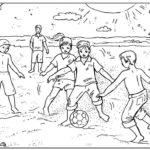 Шаблон дети играют в пляжный футбол