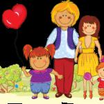 Картинка Семья с воздушными шариками в форме сердец