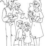 Раскраска Семья с четырьмя детьми на природе