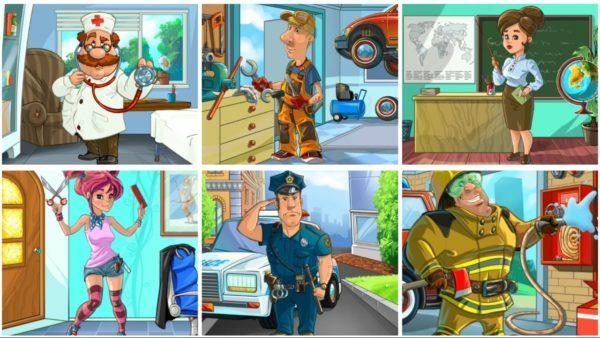 Шесть картинок с профессиями