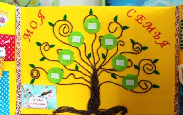 Дерево из ниток на жёлтой странице лэпбука