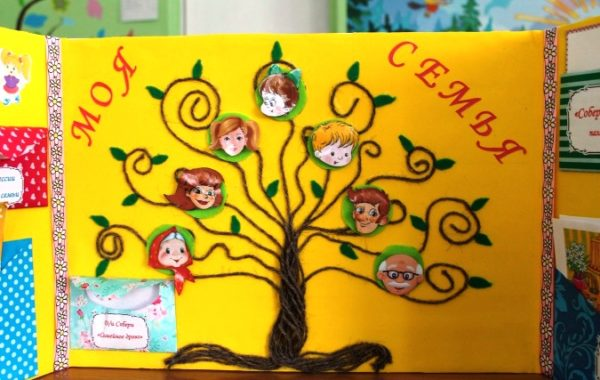Дерево из ниток с фотографиями членов семьи