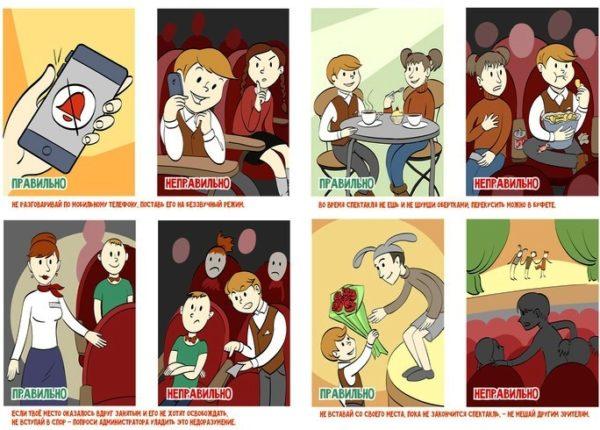 Восемь картинок с правилами поведения в театре