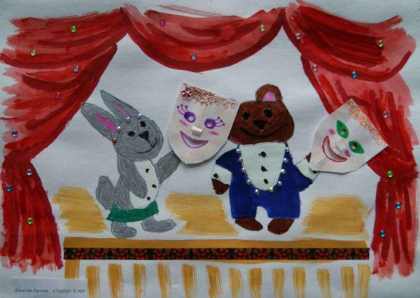 Рисунок зайца и мишки с аппликациями-театральными масками