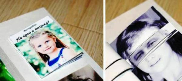 Фото девочки и нарезанные фотографии членов семьи для поиска сходных черт