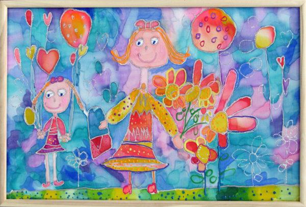 Рисунок мамы и девочки, выполненный красками