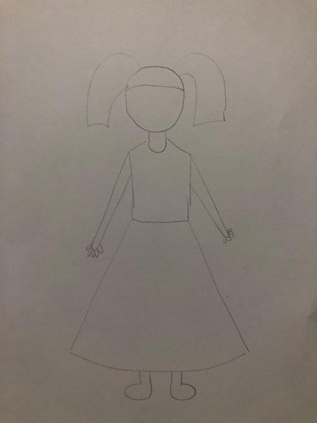«Девочка в нарядном платье» карандашами, этап 1
