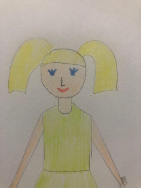 «Девочка в нарядном платье» карандашами, этап 3