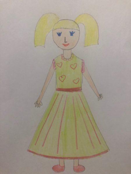 «Девочка в нарядном платье» карандашами, этап 4