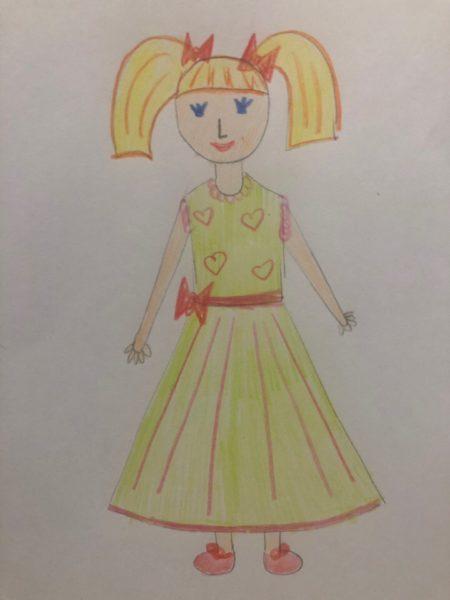 «Девочка в нарядном платье» карандашами, этап 5