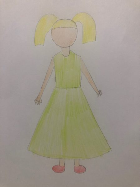 «Девочка в нарядном платье» карандашами, этап 2