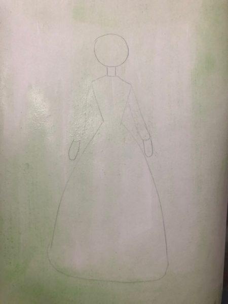 «Принцесса в бальном платье» красками, этап 2