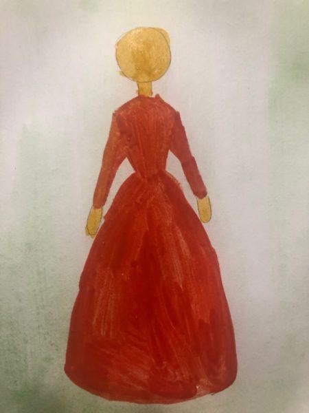 «Принцесса в бальном платье» красками, этап 3