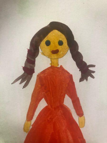 «Принцесса в бальном платье» красками, этап 4