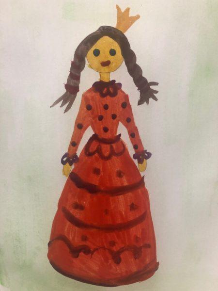 «Принцесса в бальном платье» красками, этап 5