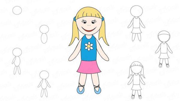Схема рисования девочки