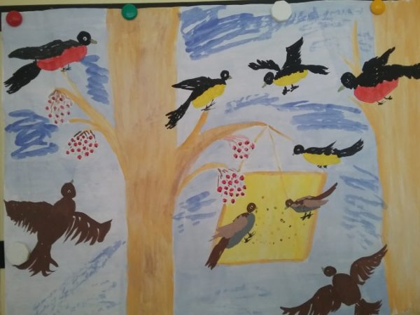 Птицы у кормушки коллективная композиция