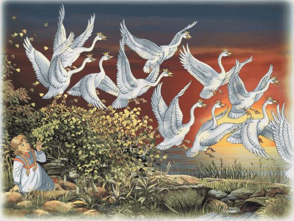 Иллюстрация к сказке Андерсена «Дикие лебеди»