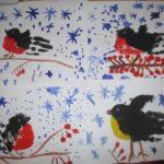 Снегирёк и синичка — наши любимые птички: рисование ладошкой