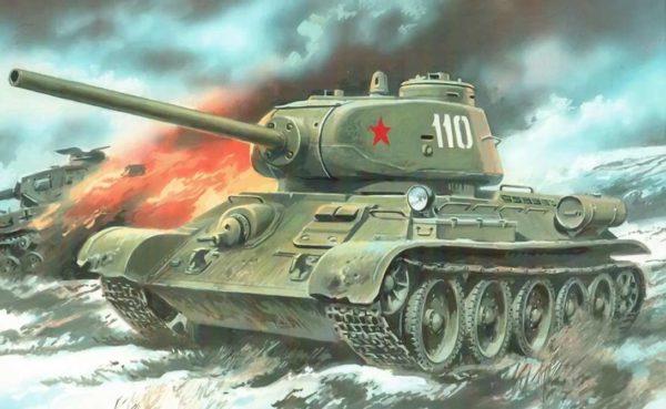 Советский танк во время сражения, на нём изображена красная звезда