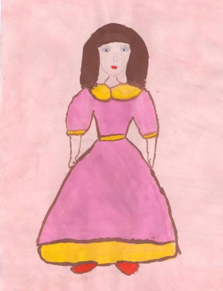 Рисунок девочки в платье, выполненный красками
