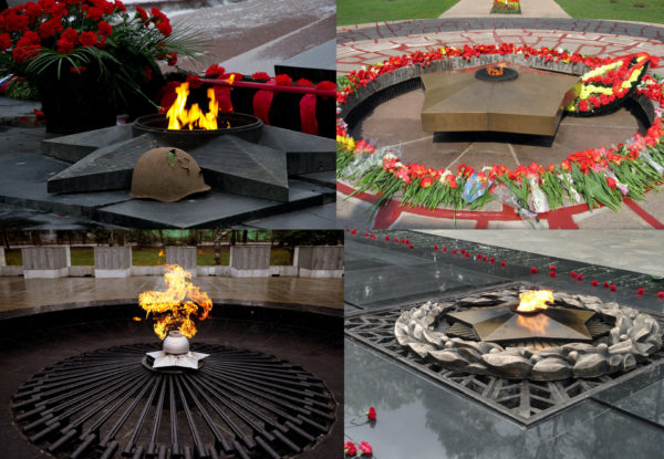 Мемориалы Вечный огонь в разных городах России