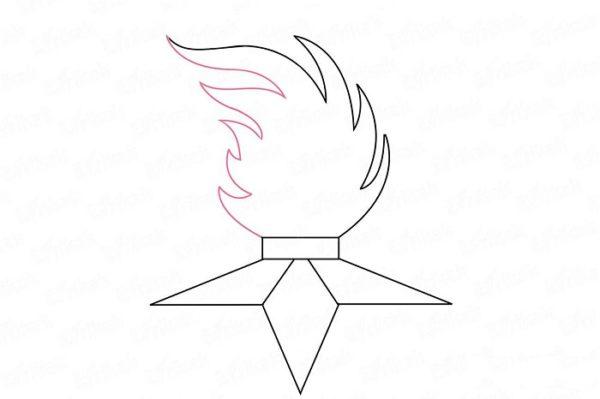 Пламя полностью нарисовано, лишние линии удалены
