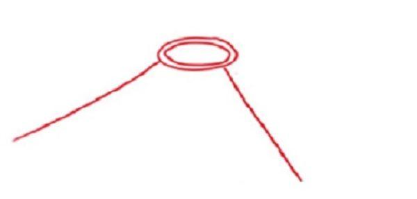 Два овала (один в другом), от них отходят две линии