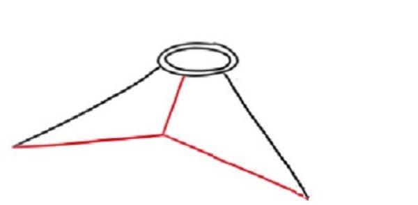 Между двумя линиями проводится третья — более короткая, её конец соединяется с концами двух первых линий
