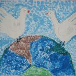 Голубь — птица мира пальчиковая живопись