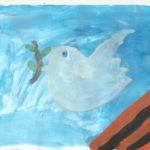 Голубь на фоне георгиевской ленты